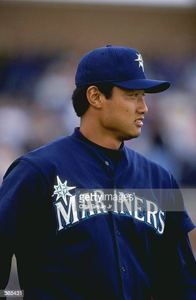 Mac Suzuki of the Seattle Mariners looking on during the Spring Training game against the San Diego Padres at the Peoria Stadium in Peoria Arizona...