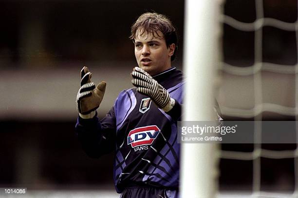 Mark Bosnich of Aston Villa awaits a corner during the FA Carling Premiership match against Tottenham Hotspur played at White Hart Lane in London...