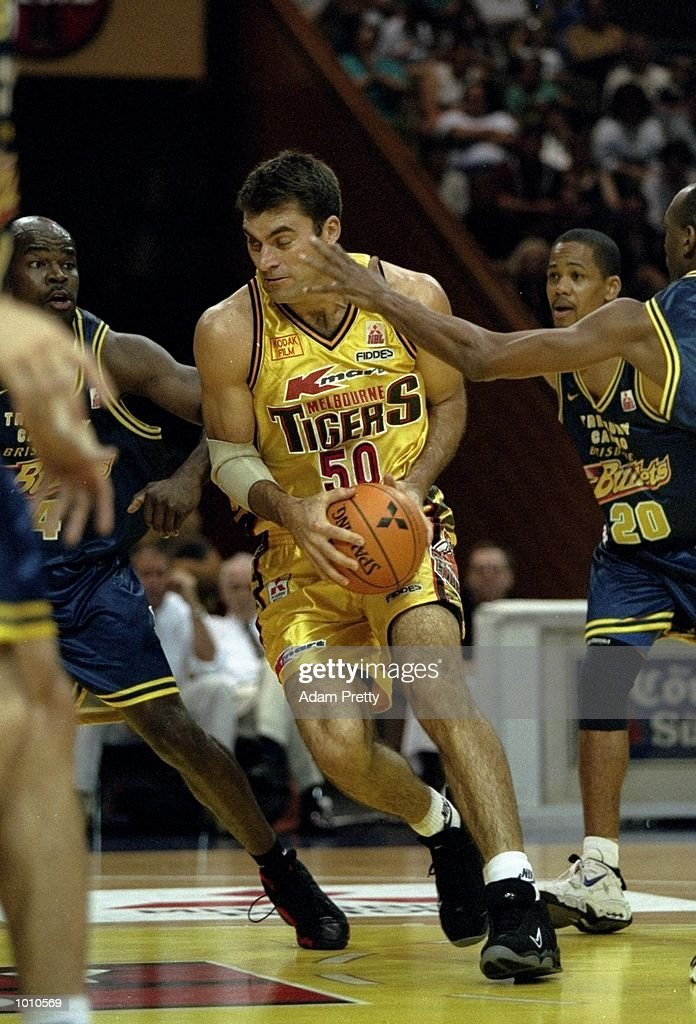 Mark Bradtke of the Melbourne Tigers in action against the Brisbane Bullets during the 1999 NBL Finals, from the Brisbane Convention Centre, Brisbane, Australia. \ Mandatory Credit: Adam Pretty /Allsport
