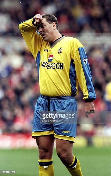 Matt Le Tissier of Southampton wipes his brow in the FA Carling Premiership match against Middlesbrough at the Riverside in Middlesbrough England...