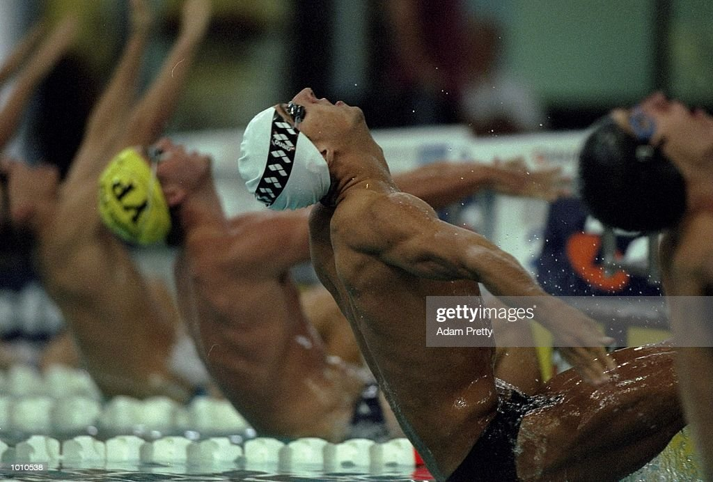 Matt Welsh of Australia at the start of the Mens 100m Backstroke at the 1999 Australian Open Championships and Pan Pacific Selection Trials from the Chandler Aquatic Centre, Brisbane, Australia. \ Mandatory Credit: Adam Pretty /Allsport