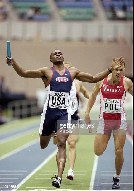 Milton Campbell anchors the USA to victory in the 4x400m relay during the IAAF World Indoor Championships at the Green Dome in Maebashi Japan...