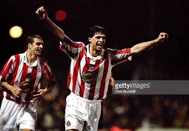 Niall Quinn of Sunderland celebrates his goal in the Nationwide Division One match against Bradford City at Valley Parade in Bradford, England....
