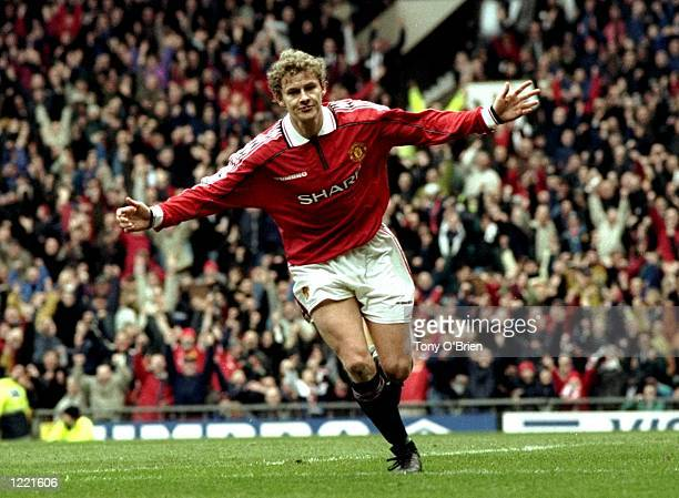 Ole Gunnar Solskjaer of Manchester United celebrates during the FA Carling Premiership match against Everton played at Old Trafford in Manchester...