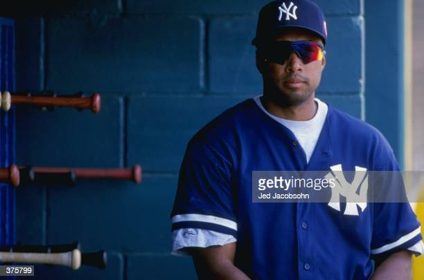 Outfielder Bernie Williams of the New York Yankees looking on during the Spring Training game against the Houston Astros at the Osceola County...