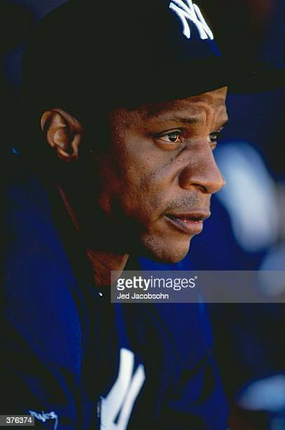 Outfielder Darryl Strawberry of the New York Yankees looking on during the Spring Training game against the Boston Red Sox at Legends Field in Tampa...