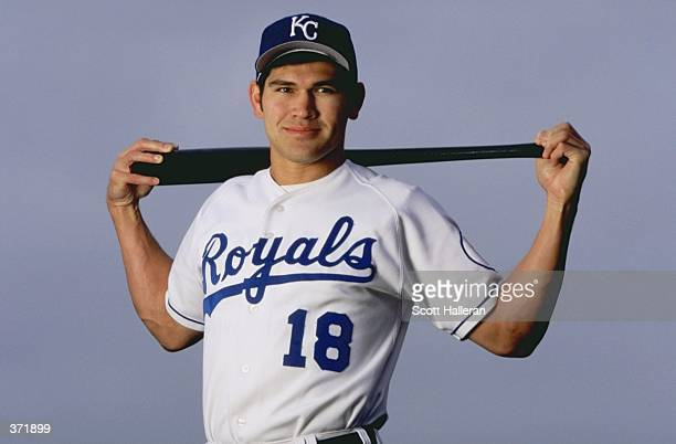 Outfielder Johnny Damon of the Kansas City Royals poses for the camera on Photo Day during Spring Training at the Baseball City Stadium in Davenport,...