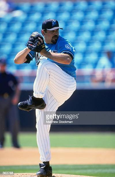 Pitcher Alex Fernandez of the Florida Marlins pitching the ball during the Spring Training game against the Kansas City Royals at the Space Coast...