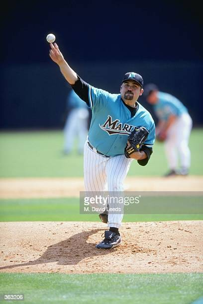 Pitcher Alex Fernandez of the Florida Marlins throws the ball during the Spring Training game against the Tampa Bay Devil Rays at the Space Coast...