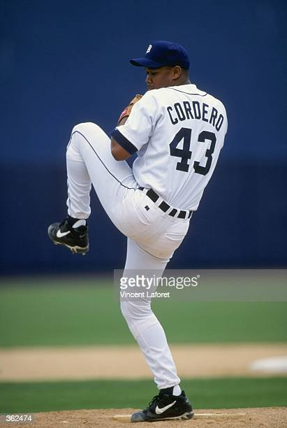 Pitcher Francisco Cordero of the Detroit Tigers pitching the ball during the Spring Training game against the Tampa Bay Devil Rays at the Tigertown...