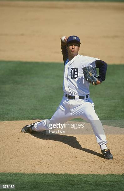 Pitcher Masao Kida of the Detroit Tigers pitching the ball during the Spring Training game against the Toronto Blue Jays at the Joker Marchant...