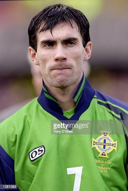 Portrait of Keith Gillespie lining up for Northern Ireland in the European Championship qualifier against Germany at Windsor Park in Belfast,...