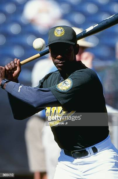 Ron Washington of the Oakland Athletics stands ready to swing during the Spring Training game against the Anaheim Angels at the Phoenix Municipal...