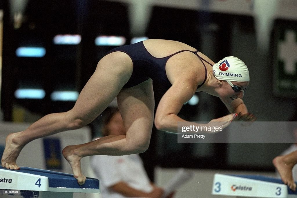 Sarah Ryan of Australia at the start of the Womens 50m Freestyle during the 1999 Australian Open Championships and Pan Pacific Selection Trials in Brisbane, Australia. \ Mandatory Credit: Adam Pretty /Allsport