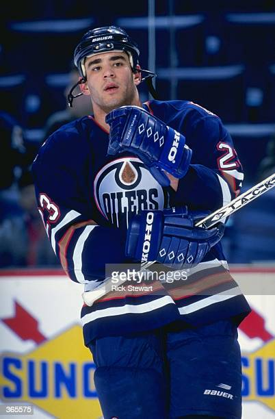 Sean Brown of the Edmonton Oilers looking on during the game against the Buffalo Sabres at the Marine Midland Arena in Buffalo New York The Oilers...