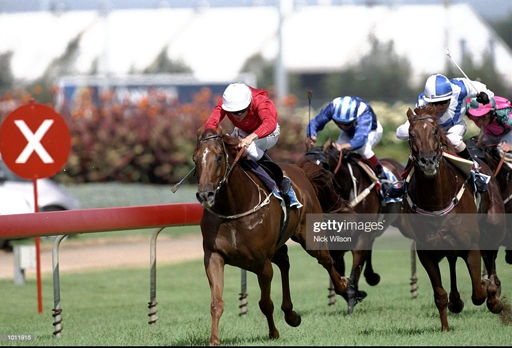 Shane Dye on Tie The Knot breaks clear of the pack to win the Mercedes Classic during the 1999 Golden Slipper Carnival from the Rosehill Racecourse, Sydney, Australia. \ Mandatory Credit: Nick Wilson /Allsport