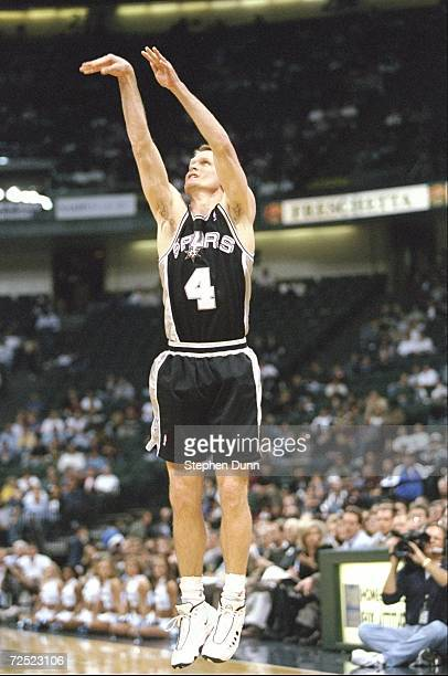 Steve Kerr of the San Antonio Spurs taking a shot during the game against the Dallas Mavericks at the Reunion Arena in Dallas Texas The Spurs...