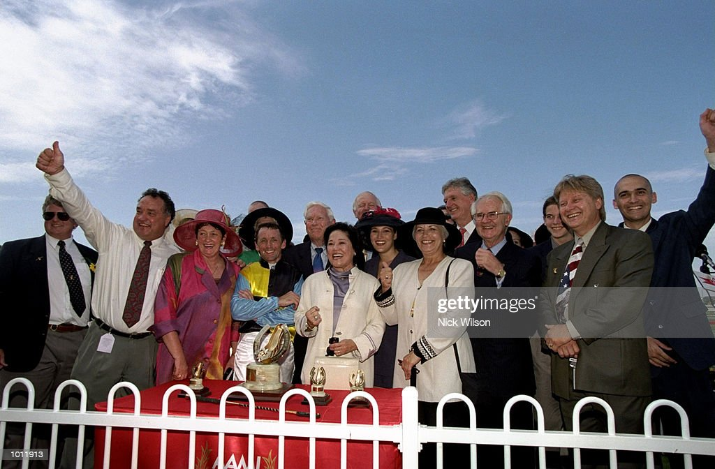 The syndicate owners of Catbird celebrate after winning the Golden Slipper during the 1999 Golden Slipper Carnival from the Rosehill Racecourse, Sydney, Australia. \ Mandatory Credit: Nick Wilson /Allsport
