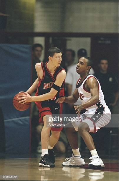 Vlado Ilijevski of the International Team being guarded by Jason Williams during the 1999 Nike Hoop Summit game against the United States Team at the...