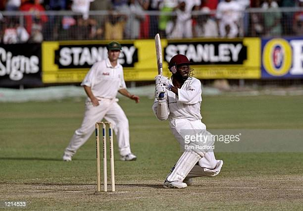 West Indies captain Brian Lara in action during the Third Test against Australia at the Kensington Oval in Bridgetown, Barbados. Lara scored an...
