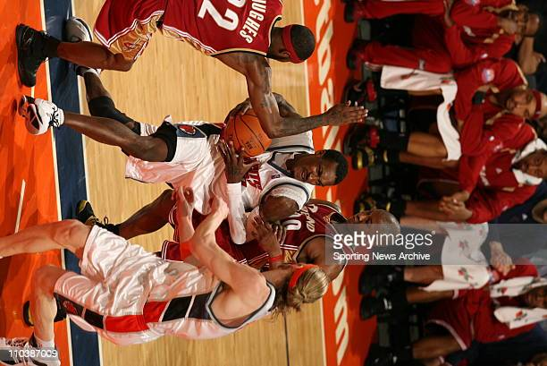 Mar 20 2007 Charlotte NC USA Cleveland Cavaliers ERIC SNOW LARRY HUGHES against Charlotte Bobcats GERALD WALLACE on March 20 at the Charlotte Bobcats...