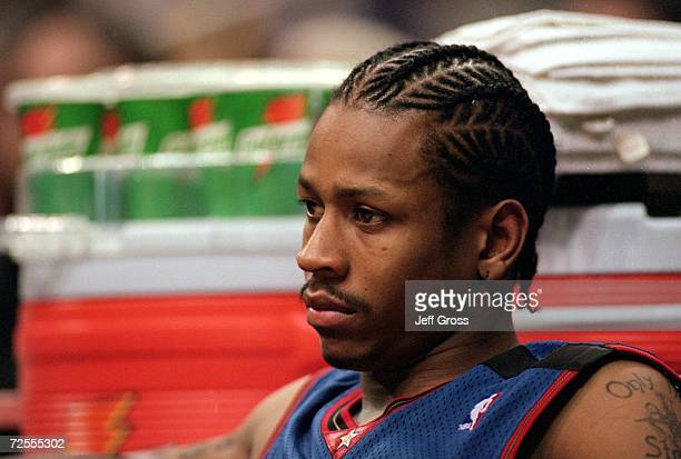 A close up of Allen Iverson of the Philadelphia 76ers as he looks on from the bench during the game against the Los Angeles Lakers at the Staples...