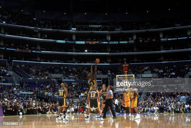 A general view of a tip off during the game between the Indiana Pacers and the Los Angeles Lakers at Staples Center in Los Angeles California The...