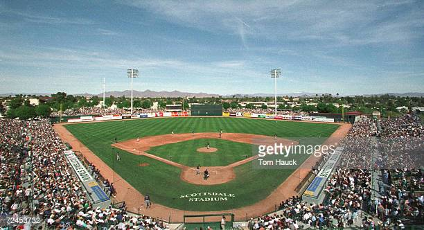 General view of Scottsdale Stadium during a spring training game between the Arizona Diamondbacks and the San Francisco Giants in Scottsdale,...