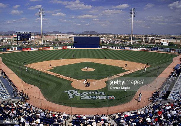 A general view of the baseball diamond taken during the Spring Training Game between the Chicago White Sox and the San Diego Padres at Peoria Sports...