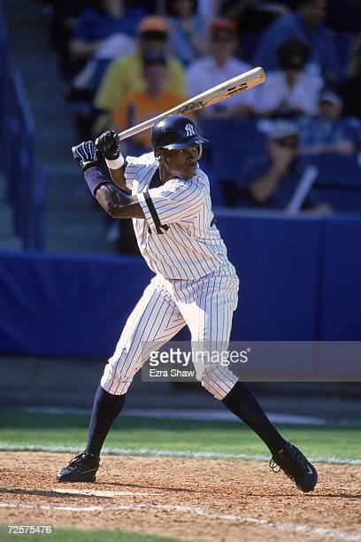 Alfonso Soriano of the New York Yankees steps into the swing during the Spring Training Game against the Toronto Blue Jays at Legends Field in Tampa...
