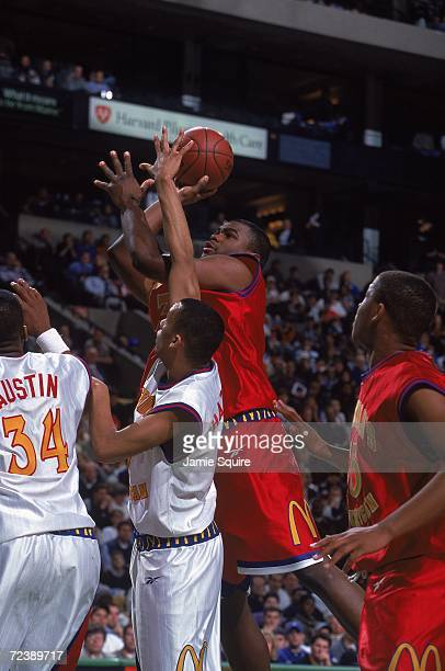 Alton Ford of Team West takes a shot during the McDonalds High School All American game against Team East at The Fleet Center in Boston Massachusetts...