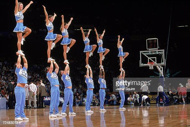 Cheerleaders of the North Carolina Tar Heels perform during second round of the NCAA Tournament Game against the Stanford Cardinal at the Jefferson...