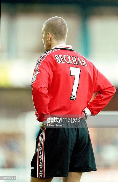 David Beckham of Manchester United during the FA Carling Premiership match against Leicester City at Filbert Street in Leicester England Manchester...