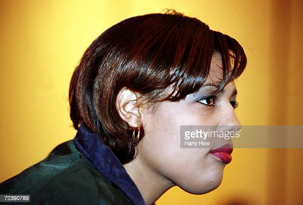 Freeda Foreman daughter of George Foreman looks on during a press conference at the Regent Hotel in Las Vegas Nevada