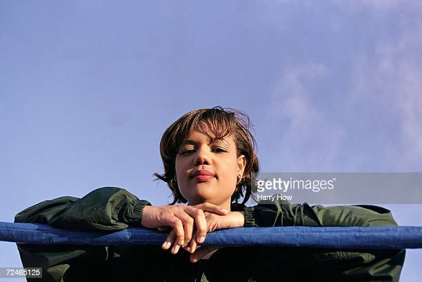 Freeda Foreman daughter of George Foreman poses in the ring for the camera during a press conference at the Regent Hotel in Las Vegas Nevada