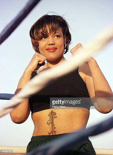 Freeda Foreman poses before her scheduled fight which was cancelled for medical reasons at the Regent Hotel in Las Vegas Nevada Mandatory Credit...