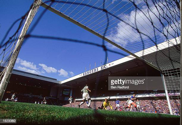 General view from the corner of the net during the Scottish Premier Division match between Glasgow Rangers and Glasgow Celtic at Ibrox Stadium in...