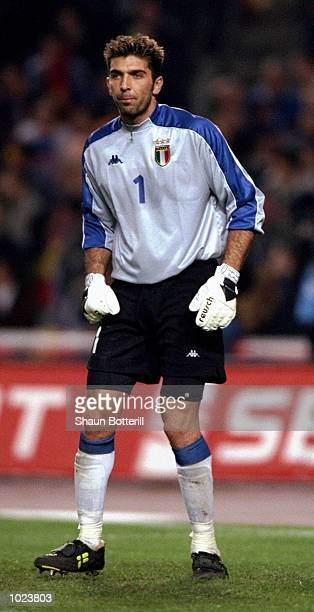 Gianluca Buffon of Italy in action during the International Friendly match against Spain at the Nou Camp Stadium in Barcelona Spain Spain won 20...