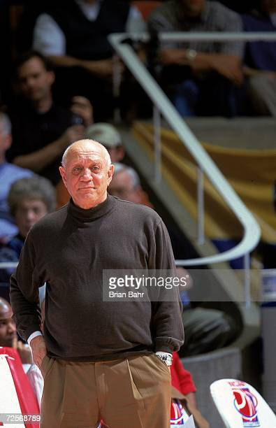 Head Coach Jerry Tarkanian of the Fresno State Bulldogs looks on from the sidelines during the first round of the NCAA Tournament Game against the...