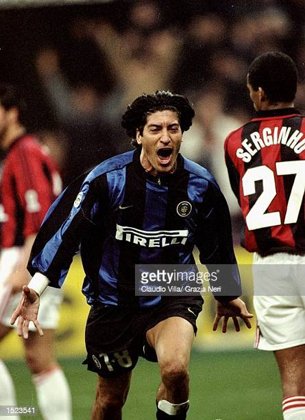 Ivan Zamorano of Inter Milan during the Italian Serie A game between Milan and Inter Milan at the San Siro stadium in Milan Italy The game finished...