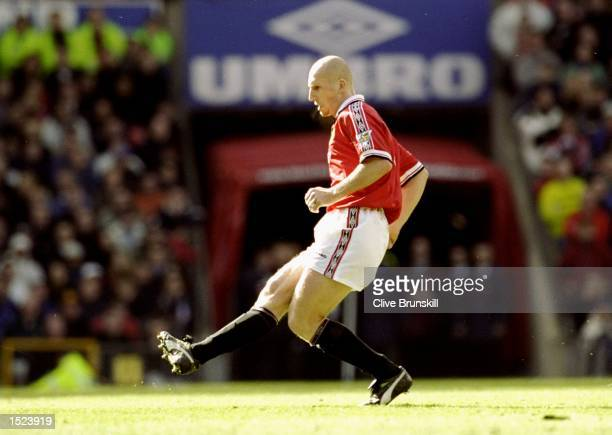 Jaap Stam of Manchester United in action during the FA Carling Premiership game between Manchester United and Liverpool at Old Trafford in Manchester...