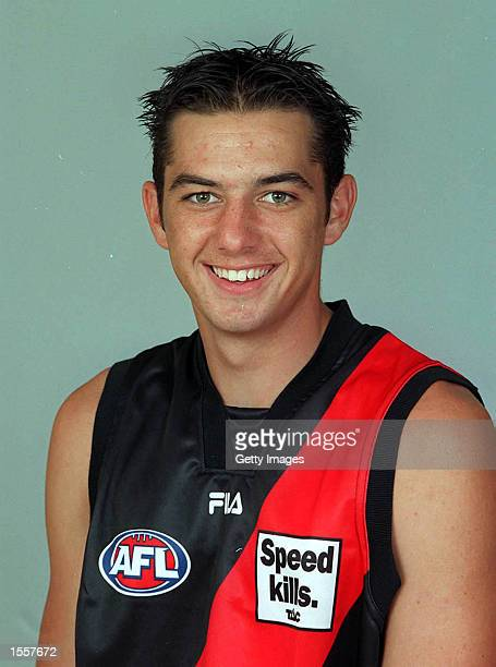 James Podsiadly for Essendon poses for a portrait headshot during the photo call at Windy Hill in Melbourne Australia Mandatory Credit Allsport...