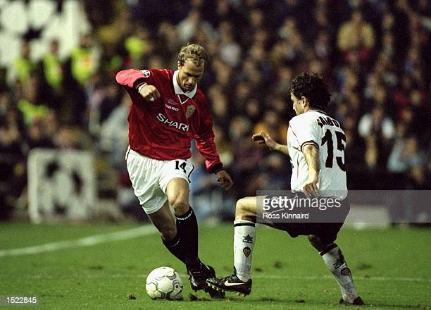 Jordi Cruyff of Manchester United in action during the UEFA Champions League game between Manchester United and Valencia at the Mestalla Stadium in...