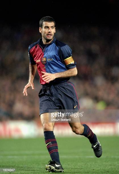 Josep Guardiola of Barcelona in action during the UEFA Champions League match against Porto at the Nou Camp Stadium in Barcelona Spain Barcelona won...