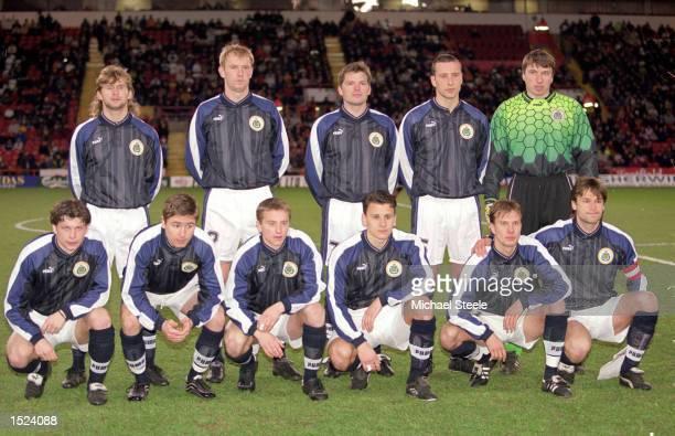 Latvia line up for the friendly match against Sheffield United at Bramall Lane in Sheffield England Latvia won 10 Mandatory Credit Michael Steele...