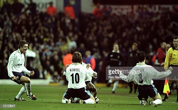 Leeds United celebrate Harry Kewell's goal against Roma during the UEFA Cup 4th round 2nd leg match at Elland Road in Leeds England Leeds won 10 on...