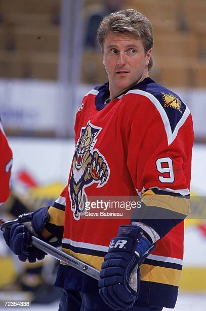 Len Barrie of the Florida Panthers looks on from the ice during the game against the Boston Bruins at the Fleet Center in Boston Massachusetts The...