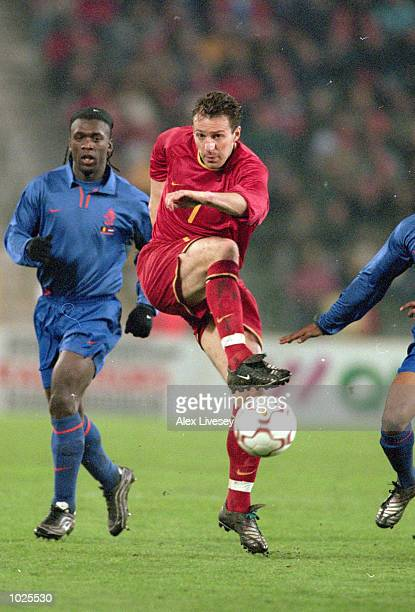 Marc Wilmots of Belgium shoots during the International Friendly against Holland at the Stade Roi Baudouin in Brussels Belgium The game ended 22...