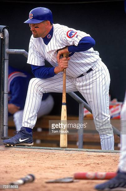Mark Grace of the Chicago Cubs looking on during the Spring Training Game against the Milwaukee Brewers at the HoHoKam Park in Mesa Arizona The Cubs...