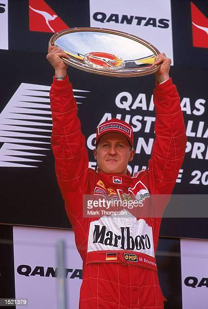 Michael Schumacher of Germany and the Ferrari team celebrates winning the Australian Formula One Grand Prix from Albert Park in Melbourne, Australia....